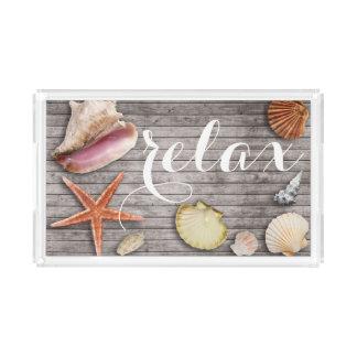 Relax Sea Shell Rustic Beach Wood Panel Print Tray