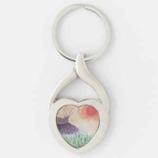 RELAX Silver-Colored TWISTED HEART KEY RING