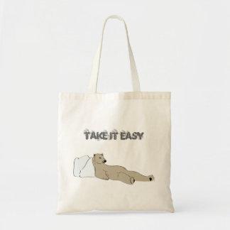 relax take it easy polar bear budget tote bag