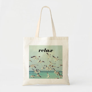 Relax with Seagulls Flying Over Beach Tote Bag