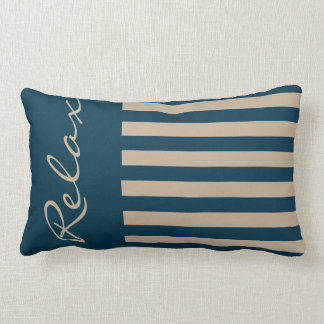 Relax with this Navy Blue and Brown Throw Pillow
