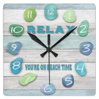 Relax, Your on Beach Time Driftwood Wallclock