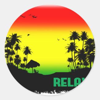 relaxation rasta round sticker