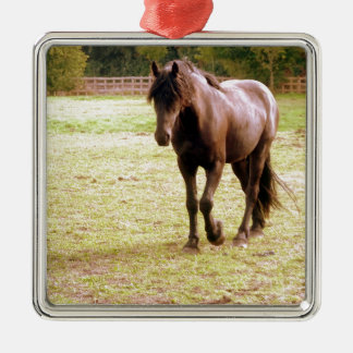 Relaxed Brown Horse Walking Christmas Ornament