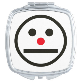 Relaxed Face Expression Red Nose Travel Mirror