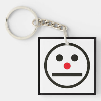 Relaxed Face Expression with Red Nose Key Ring
