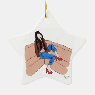 Relaxed female on sofa christmas ornament