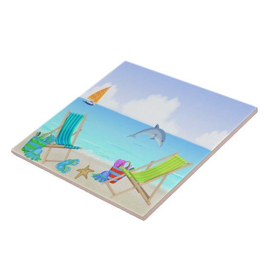 Relaxing Beach Tile/Trivet Large Square Tile