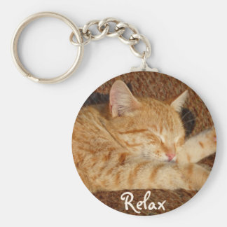 Relaxing Cat Basic Round Button Key Ring