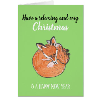 Relaxing Christmas with a sleeping Fox Card