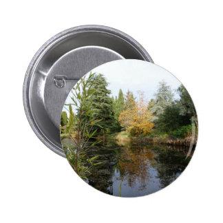 Relaxing garden scene picture, beautiful trees... 6 cm round badge