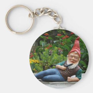 Relaxing Gnome with Santa Cap Key Ring