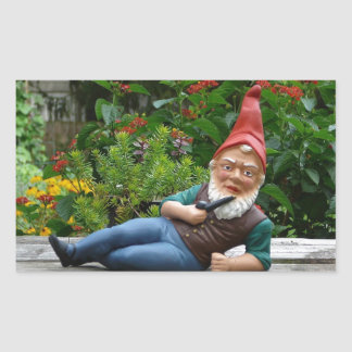 Relaxing Gnome with Santa Cap Rectangular Sticker