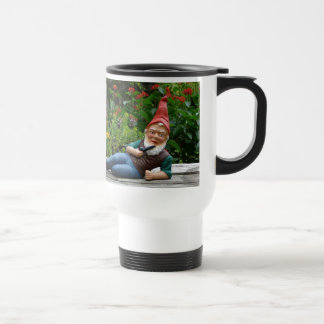 Relaxing Gnome with Santa Cap Travel Mug