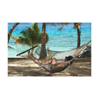 Relaxing in a hammock canvas print
