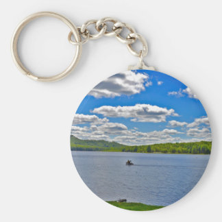 Relaxing Lake Basic Round Button Key Ring