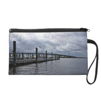 Relaxing Ocean City Dock Overcast (New Jersey) Wristlets