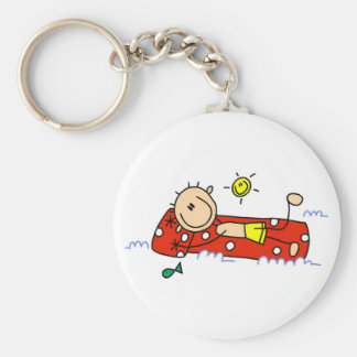 Relaxing on Air Mattress Basic Round Button Key Ring