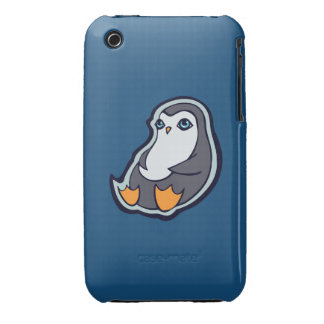 Relaxing Penguin Sweet Big Eyes Ink Drawing Design iPhone 3 Case