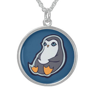 Relaxing Penguin Sweet Big Eyes Ink Drawing Design Round Pendant Necklace