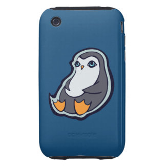 Relaxing Penguin Sweet Big Eyes Ink Drawing Design Tough iPhone 3 Cases