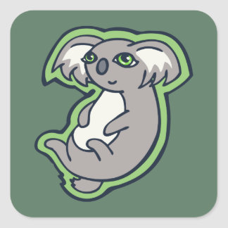 Relaxing Smile Gray Koala Green Drawing Design Square Sticker