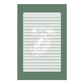 Relaxing Smile Gray Koala Green Drawing Design Stationery