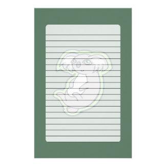 Relaxing Smile Gray Koala Green Drawing Design Stationery