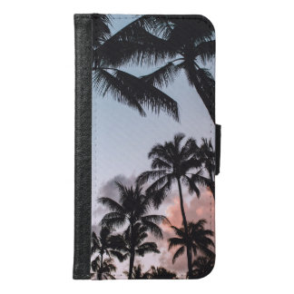 Relaxing Tropical Palm Trees Sunset Samsung Galaxy S6 Wallet Case