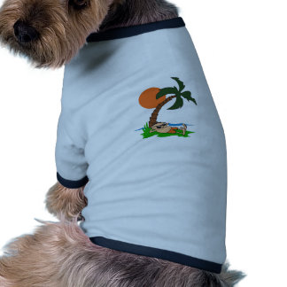RELAXING UNDER PALM TREE DOG TEE SHIRT