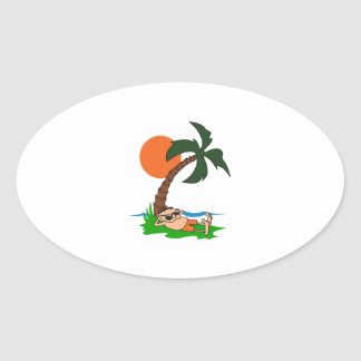 RELAXING UNDER PALM TREE OVAL STICKER