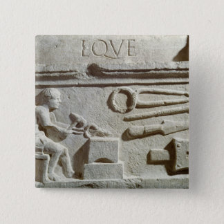Relief depicting a blacksmith's shop and tools 15 cm square badge