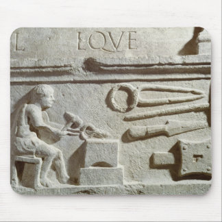Relief depicting a blacksmith's shop and tools mouse mat
