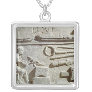 Relief depicting a blacksmith's shop and tools square pendant necklace