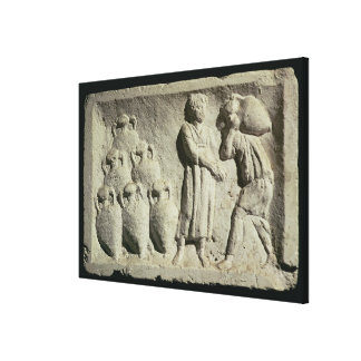 Relief depicting a delivery of wine canvas print