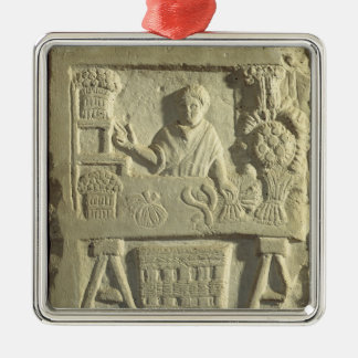 Relief depicting a flower and vegetable seller christmas ornament