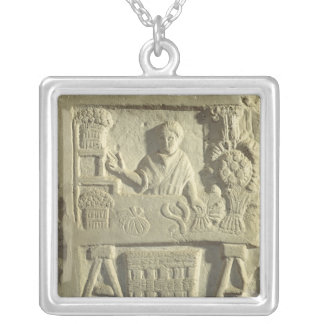 Relief depicting a flower and vegetable seller silver plated necklace