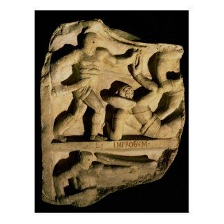 Relief depicting a samnite defeating a retiarius postcard