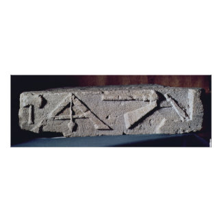 Relief depicting a stonemason's instrument poster
