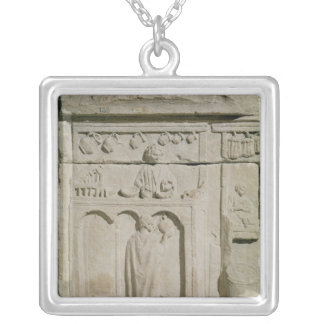 Relief depicting a wine merchant silver plated necklace