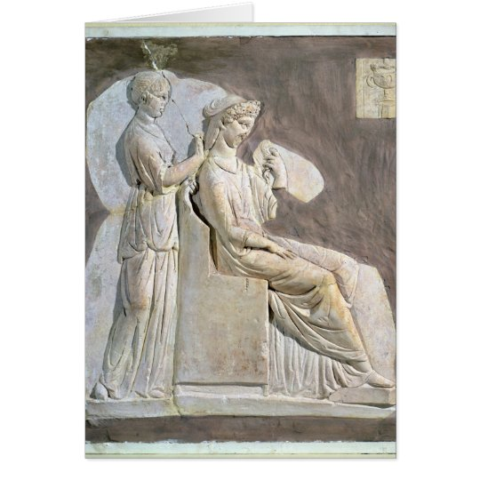 Relief depicting a woman at her toile card