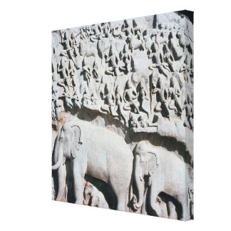 Relief depicting Arjuna's penance Canvas Print