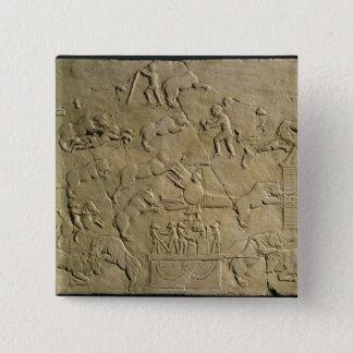 Relief depicting circus games 15 cm square badge