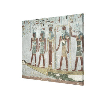 Relief depicting Khnum in a funerary  barque Canvas Print