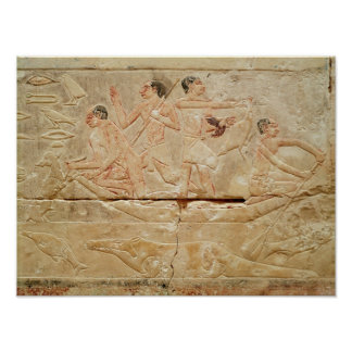 Relief depicting men in a boat poster