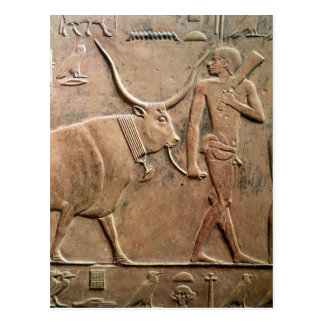 Relief depicting peasant leading cow to postcard