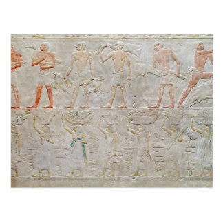 Relief depicting people carrying offerings of postcard