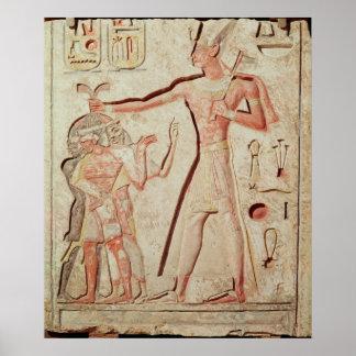 Relief depicting Ramesses II  smiting enemies Poster