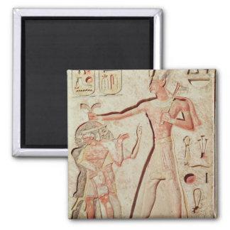 Relief depicting Ramesses II  smiting enemies Square Magnet