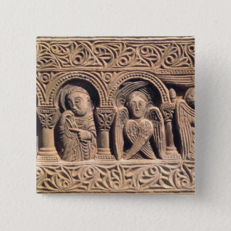 Relief depicting saints with a seraph 15 cm square badge